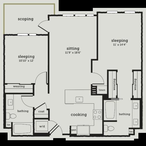 Alexan Webster Two Bedroom Floor Plan B4