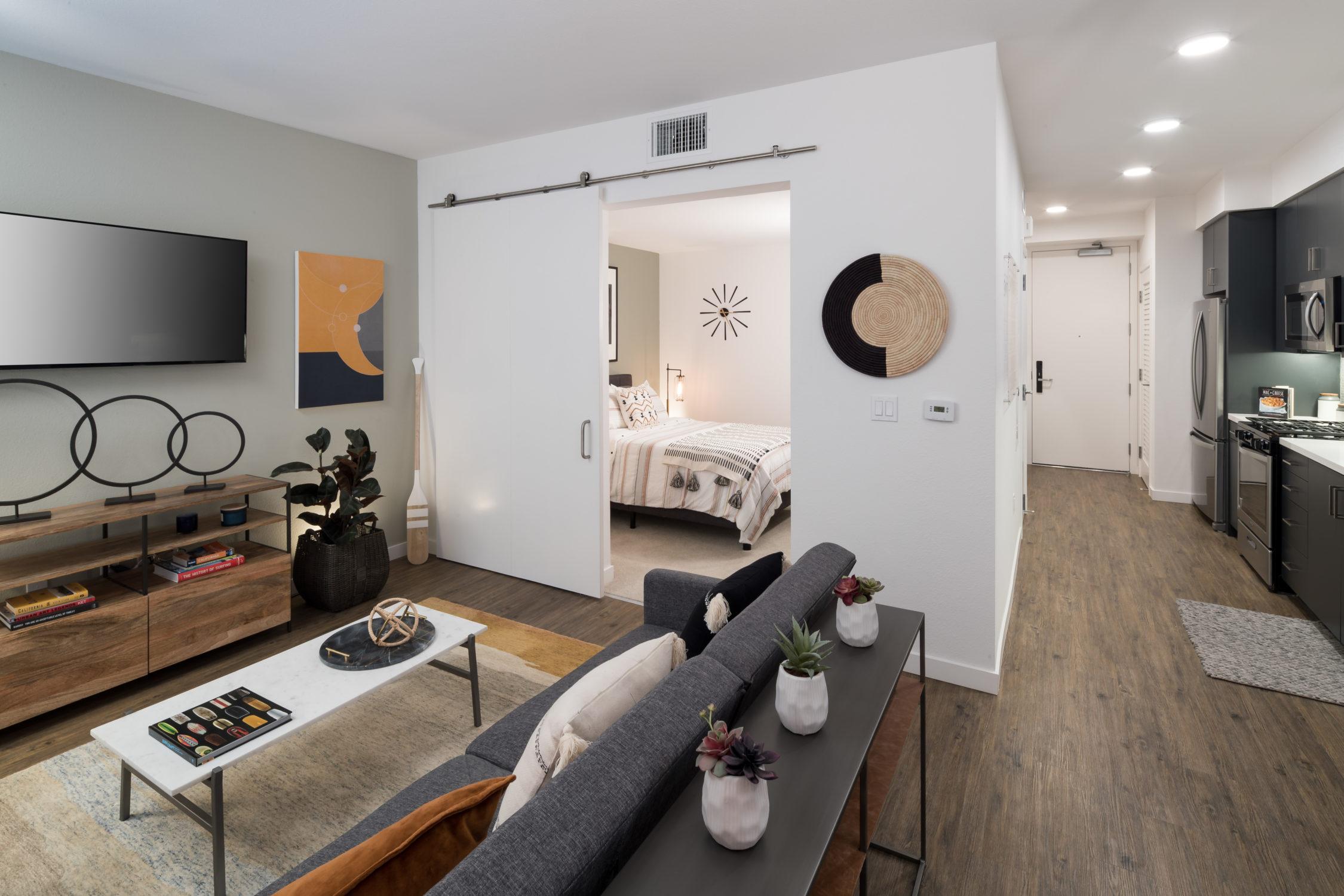 INT 06 One Bedroom Interior Living Bedroom Kitchen Views TCRA 4193 040